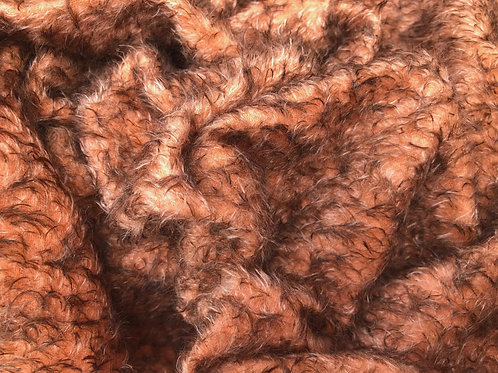 Mohair Fabric 10mm Orange Brown Tipped