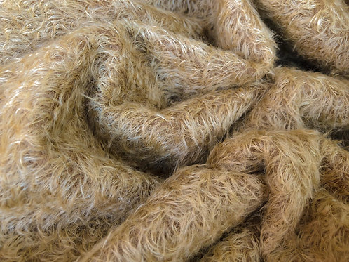 Mohair Fabric 16mm Gold on Brown