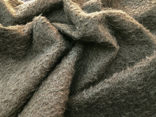 Mohair Fabric 9mm Deep Sage Brown