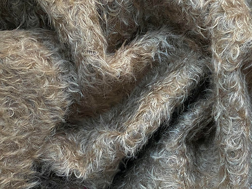Mohair Fabric 25mm Earthern Brown Curl