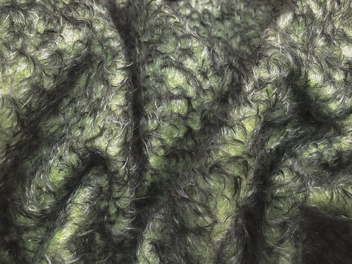 Mohair Fabric 10mm Green Black Tipped