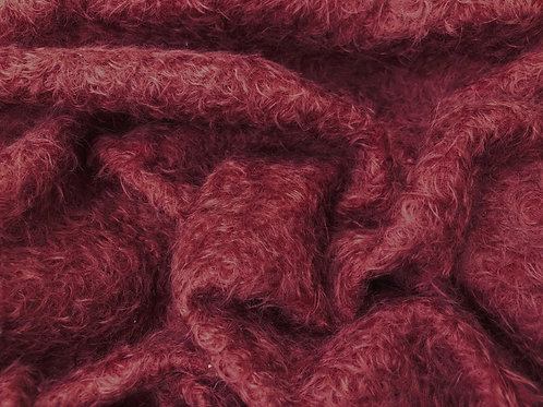 1/8th Mohair Fabric 16mm Claret Red