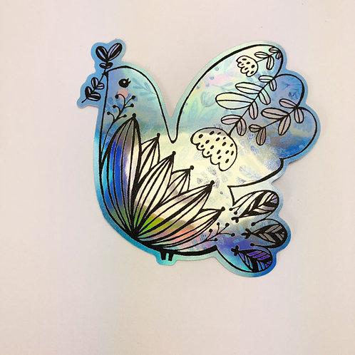 Blue peace bird 1 - holographic sticker