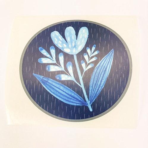 Blue flower - round sticker