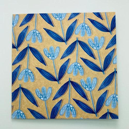 Greeting Card - Blue Flowers - blank
