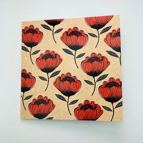 Greeting Card - Red / Black Flowers - blank