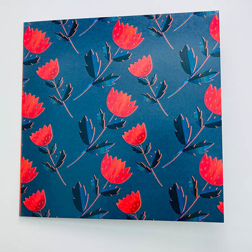 Greeting Card - Red on blue  - blank