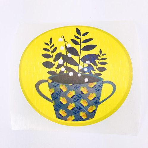 Potted plant on yellow - round sticker