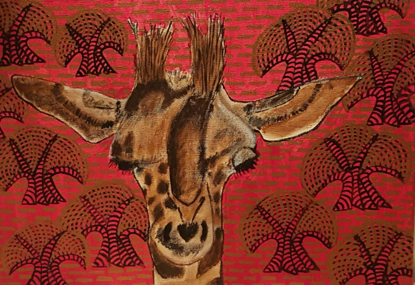 Giraffenportrait mit Bäumen