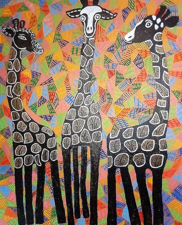3 BaumGiraffen schwarz