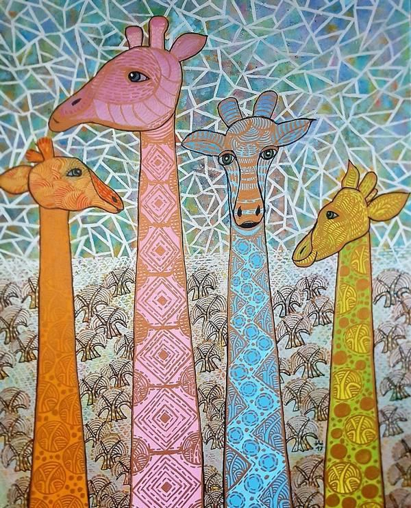 4 BaumGiraffen pastellfarben