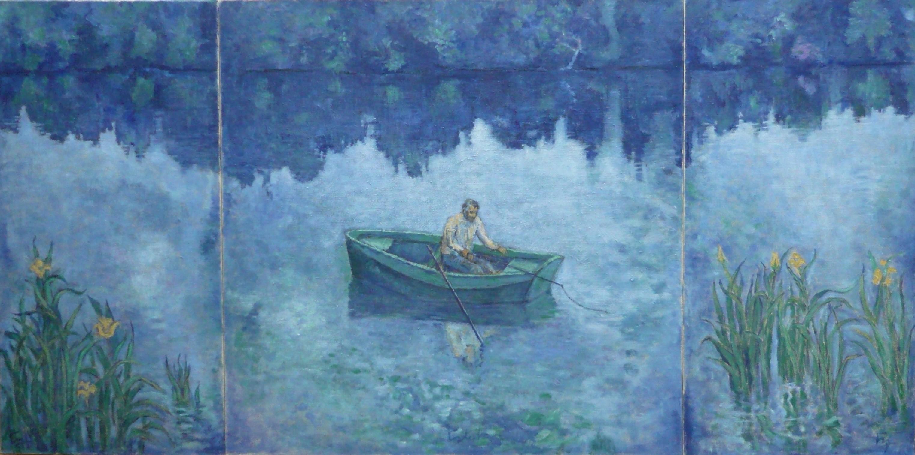 Le pêcheur (la Seine) - bleu