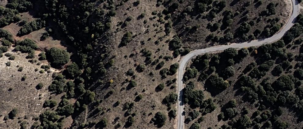 Carretera entre monte bajo. / Mountain road