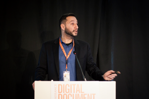 "Dr Evangelos Sakkopoulos, Professor at University of Piraeus (Greece) & Chief Technical Advisor at Scytáles AB (Sweden), presenting ""Mobile ID for All: Interoperability and Privacy Preservation as Key Success Factors"" at Digital Document Security Conference 2019"