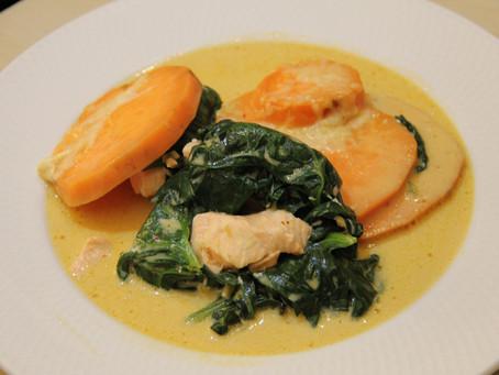 Gratin de saumon curry-coco et patates douces