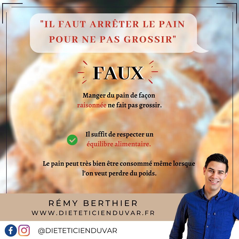 🥖🥖🥖 C'est une question que l'on entend souvent, le pain fait-il grossir ou faut-il arrêter d'en manger pour perdre du poids ? 🧐🤔   Et bien la réponse est NON ! ❌  Le pain peut très bien faire partie d'une alimentation équilibrée 🥗🥪 du moment qu'il est consommé de façon raisonnée et en accord avec vos besoins nutritionnels ! 👍🏻   Alors n'hésitez pas à vous faire plaisir avec une bonne baguette ou même avec des pains à base de farines complètes 👌🏻