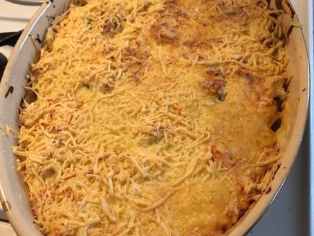 Gratin de patate douce, brocoli et choux-fleur