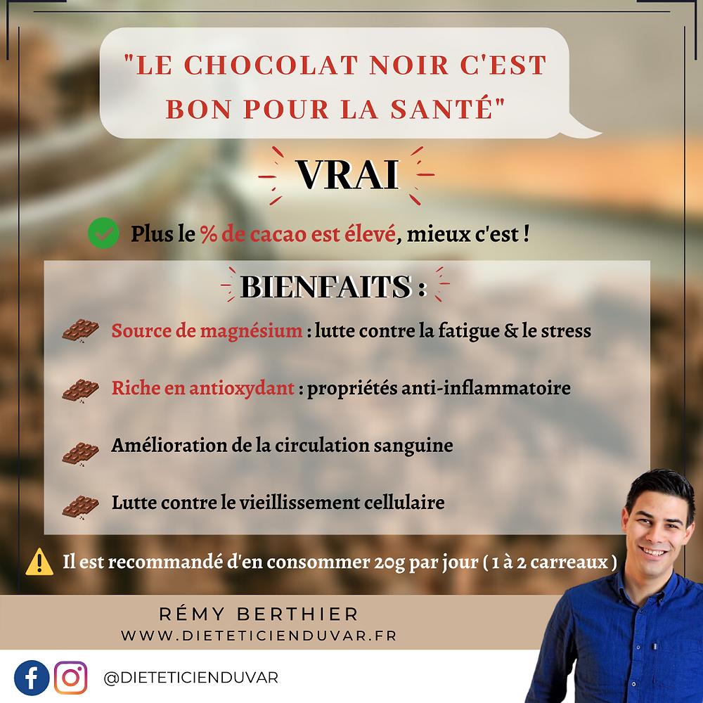 🍫🍫🍫 le chocolat noir est il bon pour la santé ? 🍫🍫🍫 Et bien oui ! Et plus le % de cacao est élevé mieux c'est ! 👌🏻 Le cacao est une source de magnésium permettant de lutter contre la fatigue et le stress. 🧠😁 Il est riche en antioxydants qui ont des propriétés anti-inflammatoires 💪🏻 Il a même été montré que la consommation régulière de chocolat noir aide à lutter contre le vieillissement cellulaire et permet une amélioration de la circulation sanguine.  Vive le chocolat noir !!! 🙌🏻🙌🏻🙌🏻 1 a 2 carreaux de chocolat noir par jour et votre corps et votre esprit vous diront merci 😁😁 #dieteticienduvar #chocolat #chocolatnoir #dietetique #nutrition #mangermieux #alimentationsaine #mangersain #mangersainement #alimentationequilibree #plaisir #plaisirgourmand #food #chocolatelover #chocolates #toulon #var #dieteticien #dieteticienne