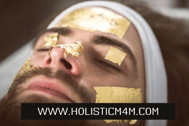 Pure gold leaf mask skin care for men in paris - m4m esthtician holisticm4m.com gay massage gay estheticien estheticien homme a paris soin du visage