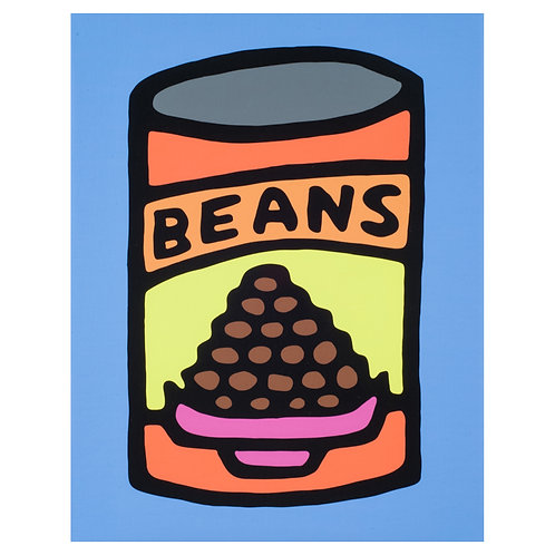 Beans (Blue) - Print on Canvas - 11x14 inches