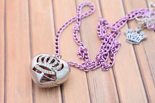 Heart Locket on Light Pink Chain