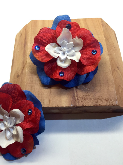 Patriotic Flower Hair Barrette with Swarovski Crystals