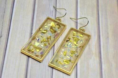 Gold Flake Rectangle Resin Earrings