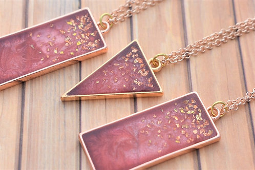 Wine Inspired Rose Gold Resin Necklace