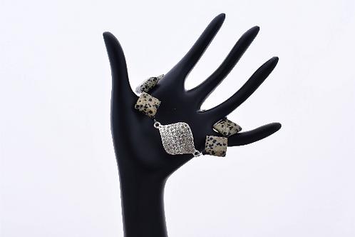 Dalmatian Jasper Crystal Charm Bracelet