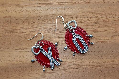 Red Frame XO Earrings