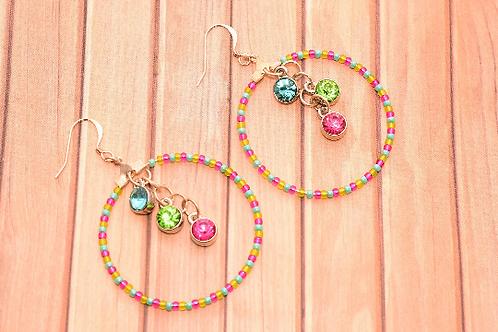 Pink Green and Blue Large Hoop Earrings