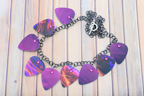 Pink Purple Hand Cut Guitar Pick Necklace