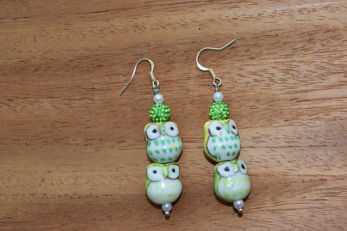 Yellow and Green Owl Earrings