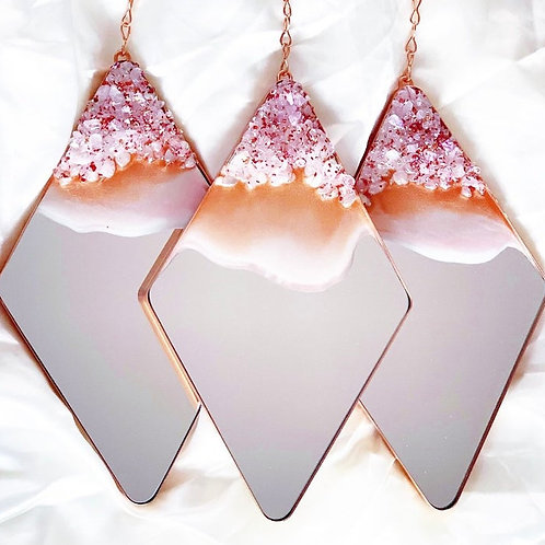 TRIO Rose Gold Decorative Hanging Diamond Mirrors