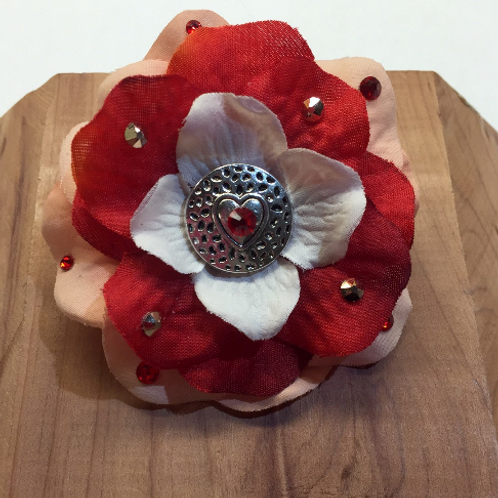 Peach and Red Heart Flower Hair Barrette with Swarovski Crystals