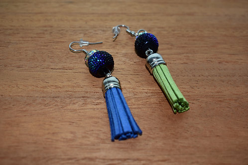 Beaded Seahawk Tassel Earrings