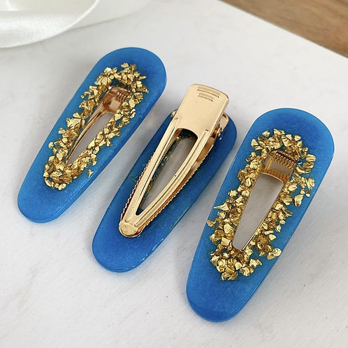 3 Pack Blue and Gold Hair Barrettes