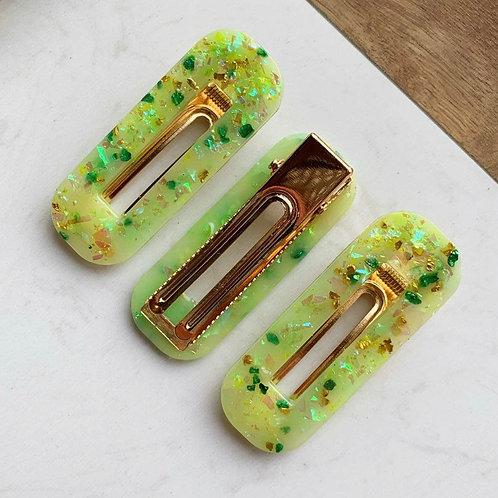 3 Pack Iridescent Green Hair Barrette Clips