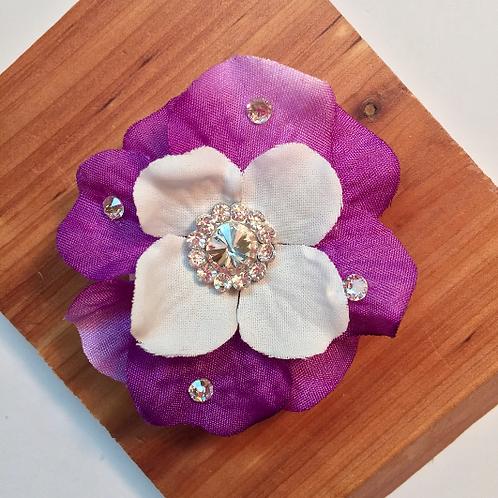 Purple Flower Accessory, Swarovski Crystal Barrette, Small Hair Flower