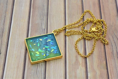 Blue and Green Sparkling Resin Gold Pendant