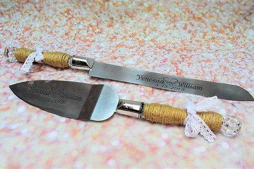 Custom Laser Engraved Cake Server and Knife Set
