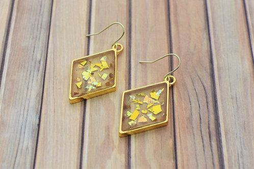 Gold Flake Diamond Resin Earrings