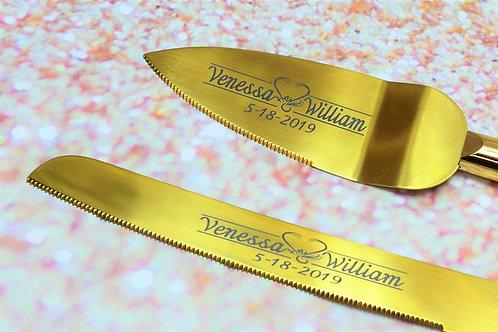 Custom Engraved Stainless Steel Titanium Cake Server and Knife Set