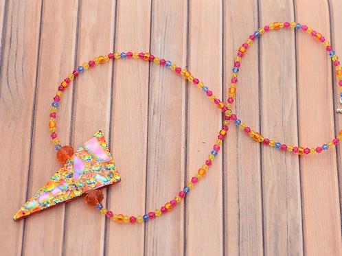 Orange Rainbow Glass Crystal Necklace