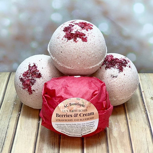 3 Pack Berries and Cream Lux Bath Bombs