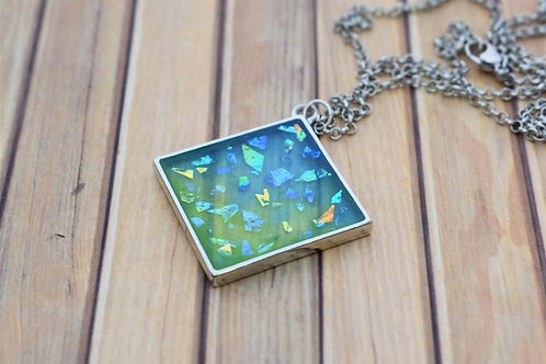 Blue and Green Sparkling Resin Silver Pendant