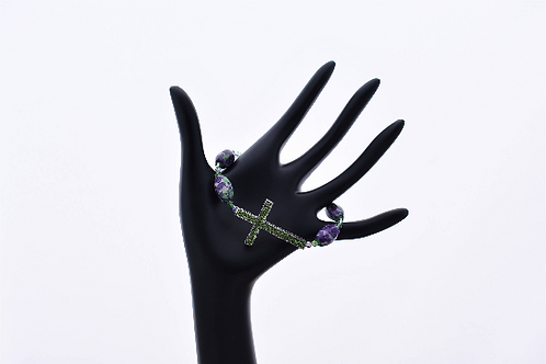 Crystal Cross Purple and Green Floral Bracelet