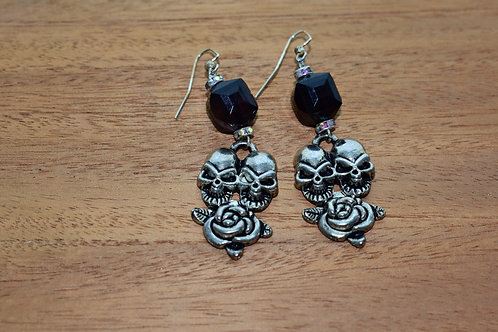 Black Double Skull Earrings