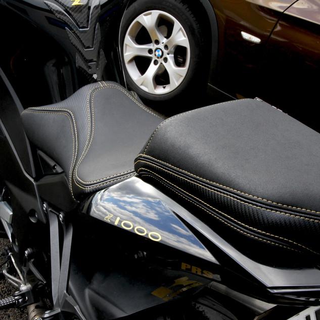Selle Kawa Z1000, changement de forme, gel-silicone et garnissage personnalisé