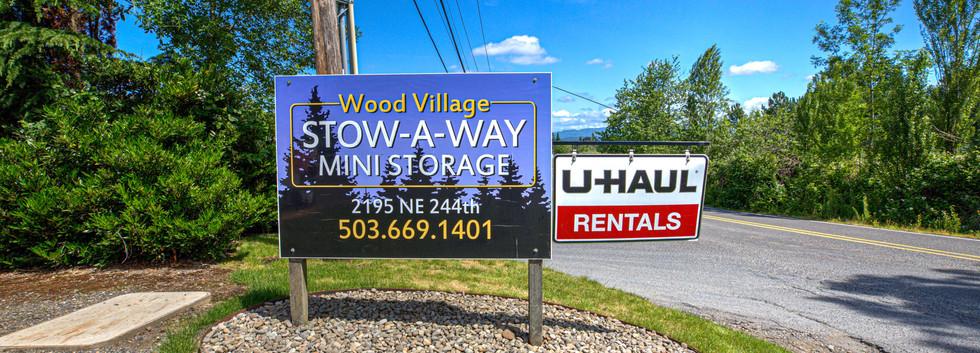 Wood Village Stow-A-Way Mini Storage sign